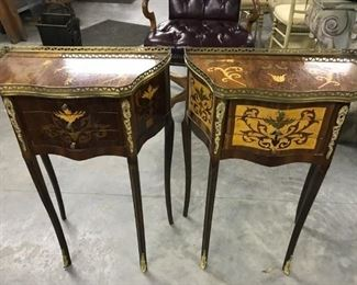 ITALIAN 3 DRAWER SMALL INLAID TABLES, 175.00 EACH