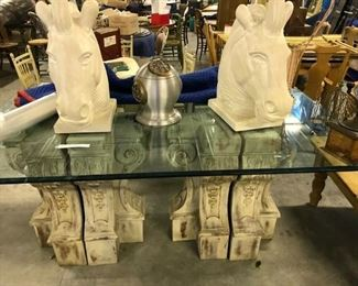 HUGE RARE PLASTER HORSE HEADS    $ 300.00  PAIR        SETTING ON  BEVELED GLASS $ 250.00    TABLE BASES ARE 2 HUGE PLASTER BASES EACH SET 400.00, THEY CAN BE SPLIT AND USED AGAINST A WALL ALSO WITH GLASS, OR MARBLE, OR WOOD TOPS.