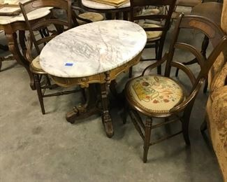 VICTORIAN WALNUT OVAL MARBLE TOP TABLE, $ 225.00