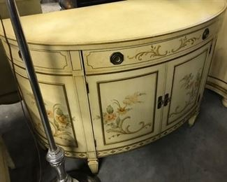 DEMI LUNE HAND PAINTED CABINET, $ 200.00