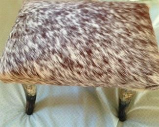 COW HIDE STOOL WITH BULL HORNS, 225.00