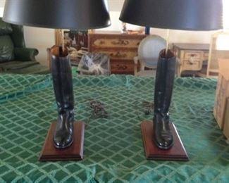 HORSE BACK RIDING BOOTS MATCHING LAMPS WITH SHADES 250.00 SET