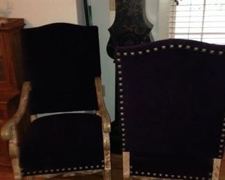 HIGH END DESIGNER PURPLE VELVET MATCHING CHAIRS WITH GREAT NAIL HEADS, PAINTED WOOD FRAMES        $ 400.00 PAIR       THESE CHAIRS ARE VERY CHIC