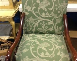 STUNNING WALNUT DESIGNER CHAIRS, WITH LEE JOVA  HAND EMBROIDERED FABRIC    $ 385.00   PAIR