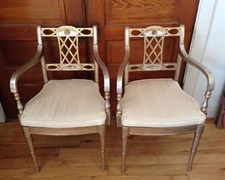 BEAUTIFUL GOLD AND SILVER,  WOOD,   HIGH END  DESIGNER MATCHING CHAIRS,   WITH CUSTOM CUSHIONS    $  225.00     PAIR