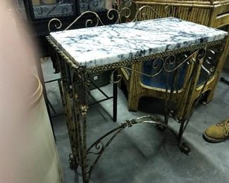 VINTAGE FANCY GOLD IRON TABLE WITH ORIGINAL MARBLE TOP  $ 175.00