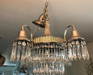 1920' NEWLY NICKELED OVER BRASS WITH CRYSTALS, STUNNING   $ 595.00