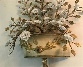 ITALIAN SCONCE WITH LOTS OF WHITE  HAND MADE PORCELIAN FLOWERS, WITH GOLD GILT LEAFS                 $ 395.00