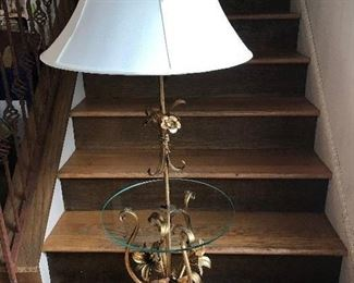 HANS KOGEL LILLIES GOLD IRON FLOOR LAMP WITH GLASS SHELF   $ 275.00