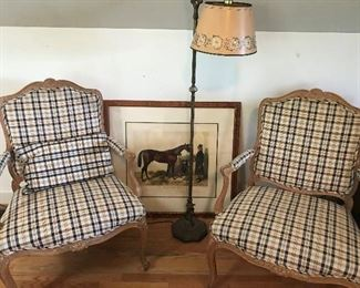 PAIR OF FRENCH COUNTRY  NAVY BLUE PLAID CHAIRS, WITH MATCHING LUBAR PILLOWS    $ 200.00 PAIR