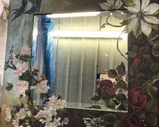 UNIQUE HAND PAINTED SQUARE BEVELED MIRROR  MIRROR  , WITH ROSES AND APPLE BLOSSOMS, AND BLUE BIRDS      $ 125.00