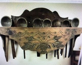 VERY COOL VINTAGE SPOON RACK, HAND CARVED VERY OLD SPOONS,12 SPOONS,  GREAT CARVINGS ON THE FRAME, RARE FIND    $  295.00