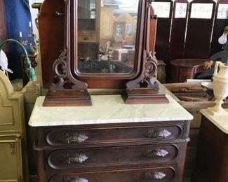 BLACK WALNUT VICTORIAN DRESSER,  WITH MIRROR AND WHITE MARBLE TOP, HANKIE DRAWERS ON TOP AND 4 DRAWERS ON BOTTOM.    $ 335.00