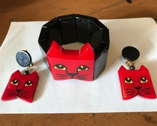 FRENCH DESIGNER MARIA PAVONE CAT FACE BRACLET AND EAR RINGS   $ 285.00 SET FIRM !                                   THIS SET SELLS FOR $ 510.00 RETAIL IF YOU CAN FIND IT
