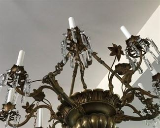 HUGE  ANTIQUE 1920'S       PATINA  BRASS  LILLIES CHANDELIER  WITH        9 CANDLE LIGHTS WITH UNIQUE CRYSTALS