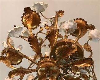 ITALIAN GOLD GILT CHANDELIER WITH WHITE PORCELIAN ROSES  WE HAVE 3 DIFFERENT SIZES