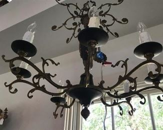 ANTIQUE NEO CLASSICAL IRON CHANDELIER WITH GOLD GILT ACCENTS, ALL ORIGINAL