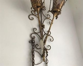 RARE ITALIAN LONG  SCONCE IN GOLD GILT  WITH LATTICE CAGE , ASK TO SEE IN THE COACH HOUSE