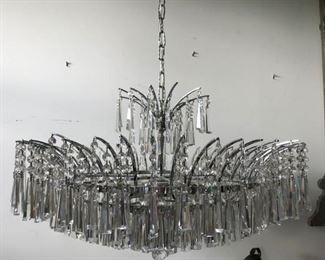 NEW STUNNING LARGE SILVER CRYSTAL  NEW CHANDELIER, FRAME IS CROME   1,500.00  ON SALE 50% OFF FOR OUR SALE, ASK TO SEE IT