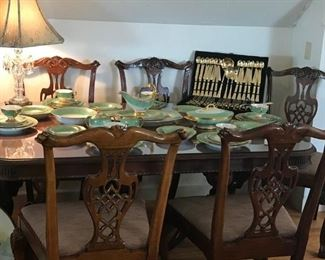SIX MATCHING  CHIPPENDALE CHAIRS  WITH BALL AND CLAW FEET,           PRISTINE SHAPE        $ 700.00  DUNCAN PHYFE MAHOGANY TABLE WITH GLASS TOP, GREAT SHAPE  $ 350.00