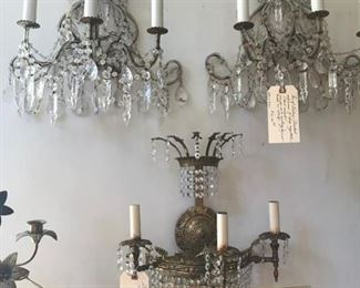 PAIR OF ANTIQUE ROPE VENETIAN  ITALIAN CRYSTAL SCONCES $ 900.00 FIRM