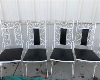 WOODARD  MID CENTURY  IRON SET OF 4 CHAIRS, SCROLLED  ARTWORK ,  CHAIRS ARE HEAVY STABLE WEIGHT, WE HAVE TABLES THAT CAN GO WITH THEM