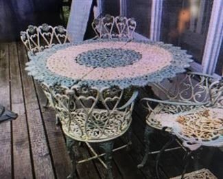 ANOTHER SET , HEAVY ANTIQUE  VICTORIAN CAST IRON TABLE WITH ORIGINAL BABY BLUE PAINT, WITH 4,  FANCY FLORAL  CHAIRS IN THE SAME MATCHING PAINT.