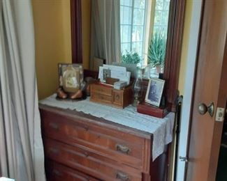 Antique Walnut lowboy with mirror