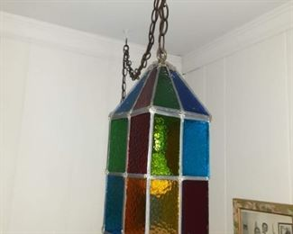 Antique stained glass light fixture