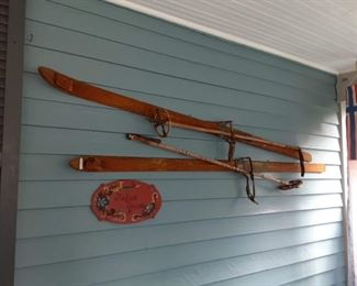 Antique carved wood snow skis from Norway