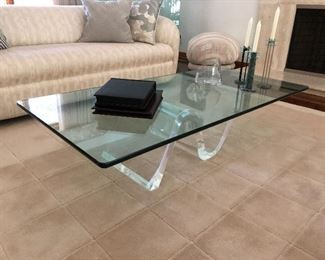 CANTILEVER GLASS AND ACRYLIC TABLE         MID CENTURY  MODERN