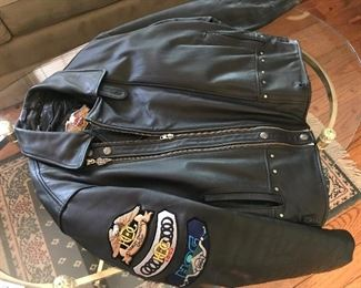 H.D. leather jacket with liner