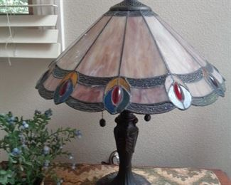 Lots of lovely stained glass lamps & 1 or more hanging piece in this sale