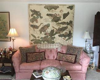 Pink sofa, Asian inspired vintage wall screen