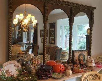 Large mirror and seasonal home décor