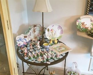 glass top side table with easter Décor