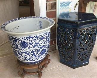 Blue and white Planter, stool/plant stand
