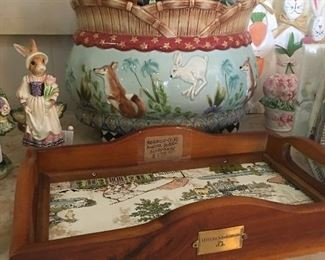 Fitz and Floyd fox and Hare Soup tureen, Mackenzie Childs Tray