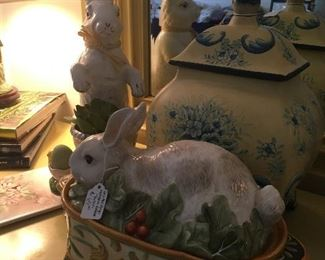 Fitz and Floyd Rabbit covered Dish