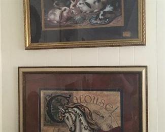 Carousel Horse Framed art / Bunny Rabbit Framed art