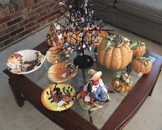 Square Glass Top table, Halloween/Fall Decor