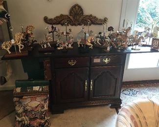 Buffet Server with collection of carousel horses