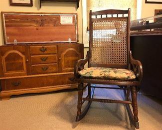 Lane Cedar Chest, cane rocking chair