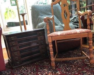"Karastan Rug 9' X 12' 100% wool ""Red Sarouk"",  nice 6 drawer thread chest, vintage chair"