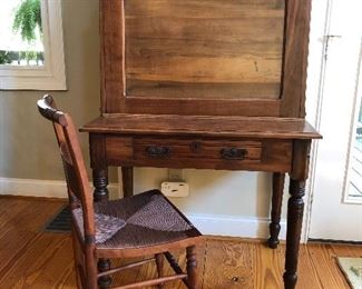 Beautiful antique drop down desk, Hitchcock style chair with rush seat
