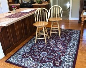 Kanpur Collection Rug 5' X 8' 100% wool, India;  2 bar swivel chairs