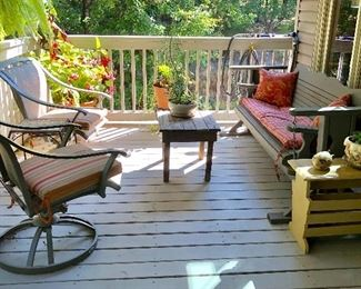 Porch Furniture: Wood swing glider, 2 Hampton Bay swivel chairs, small wood table, yellow wood end table...