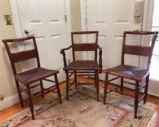Hitchcock style chairs with rush seats