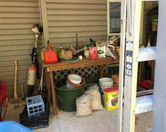 Outdoor tools, potting, garden, ladders...