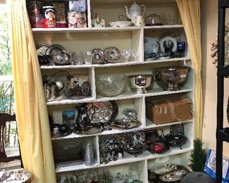 Tins, silver plate, glass ware, punch bowl, glasses, plates, jars, canning...